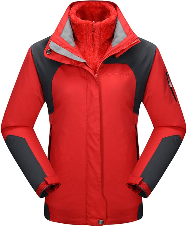 BOSOZOKU Women 3in1 Waterproof Jacket Fleece Lined Hooded Hiking Sport Coat