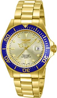 Invicta 14124 Watch Men's Pro Diver Gold Dial 18k Gold Ion-Plated Stainless Steel