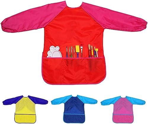 Xinyanmy Tabliers de Peinture d'enfants avec la Longue Douille imperméable Enfants Art Smocks Tabliers Blouse Peintur...