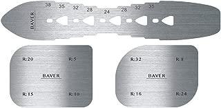 Baver Leather Craft Belt Punch Hole spacing Template with Arc Design Pattern Stainless Steel Tool Fillet Gauge Ruler 3pcs/Set
