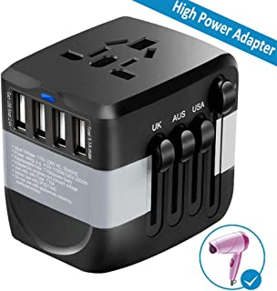 Travel Adapter 2300W International Power Adapter w/4 Fast Charging USB 3.0 Ports, Universal Power Adapter All in One Universal Travel Plug Adapter for USA EU UK AUS Over 170 Countries (Black)