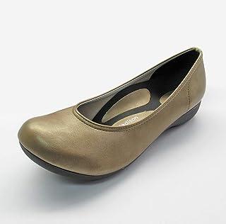 [MIRISE] パンプス 伸びる 走れる すべりにくい ぺたんこ ゆったり ウェッジ ヒール 2cm 日本製 S 22.0~22.5cm ゴールド