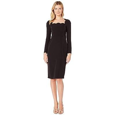 Maggy London Dream Crepe Scalloped Neck Midi Dress with Sleeve (Black) Women