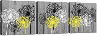 iHAPPYWALL 3 Pieces Bathroom Canvas Wall Art Bath Flowers White Yellow Dandelion Prints Floral Picture Print On Grey Wood Background Stretched and Framed for Rustic Home Decor Ready to Hang