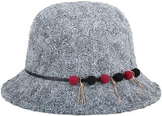 HongJie Hou Women's Knitted Plush Hat Fashion Hat Cap (Color : Grey, Size : 57cm)