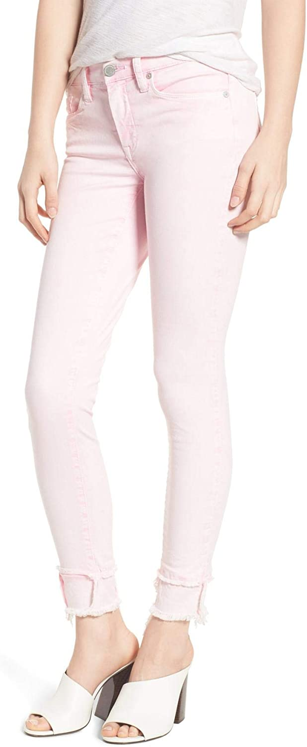[BLANKNYC] The Reade Classic Crop Raw Hedge Double Hem Jeans, Millennial Pink, 6 (28)