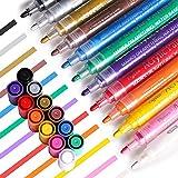 Sweejar Acrylic-Paint-Pens, Set of 12 Colors Paint Markers for Rock, Ceramic, Porcelain, Glass, Wood, Mugs