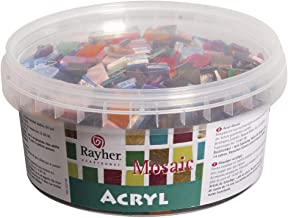 Rayher 14792999 acryl mozaïekstenen, 1 x 1 cm, doos 300 g, transparant, kleurrijke mix, vorm vierkant, kunststof stenen, k...