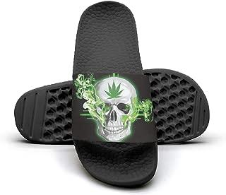Lizard on Green Leaf Slides Slippers Sandals Shower Slippers for Men Summer Beach Shoes