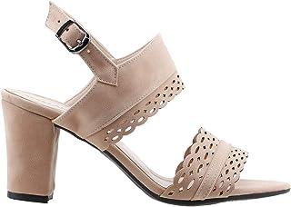 Ayakland 811-1180 Günlük 7 Cm Topuk Bayan Süet Sandalet Ayakkabı Pudra