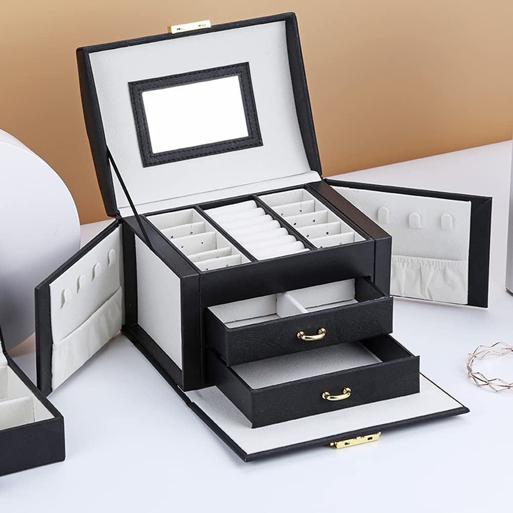 Jewelry Box Multifunction Fashion Large Case 2 Ranking TOP2 Drawe with Mirror