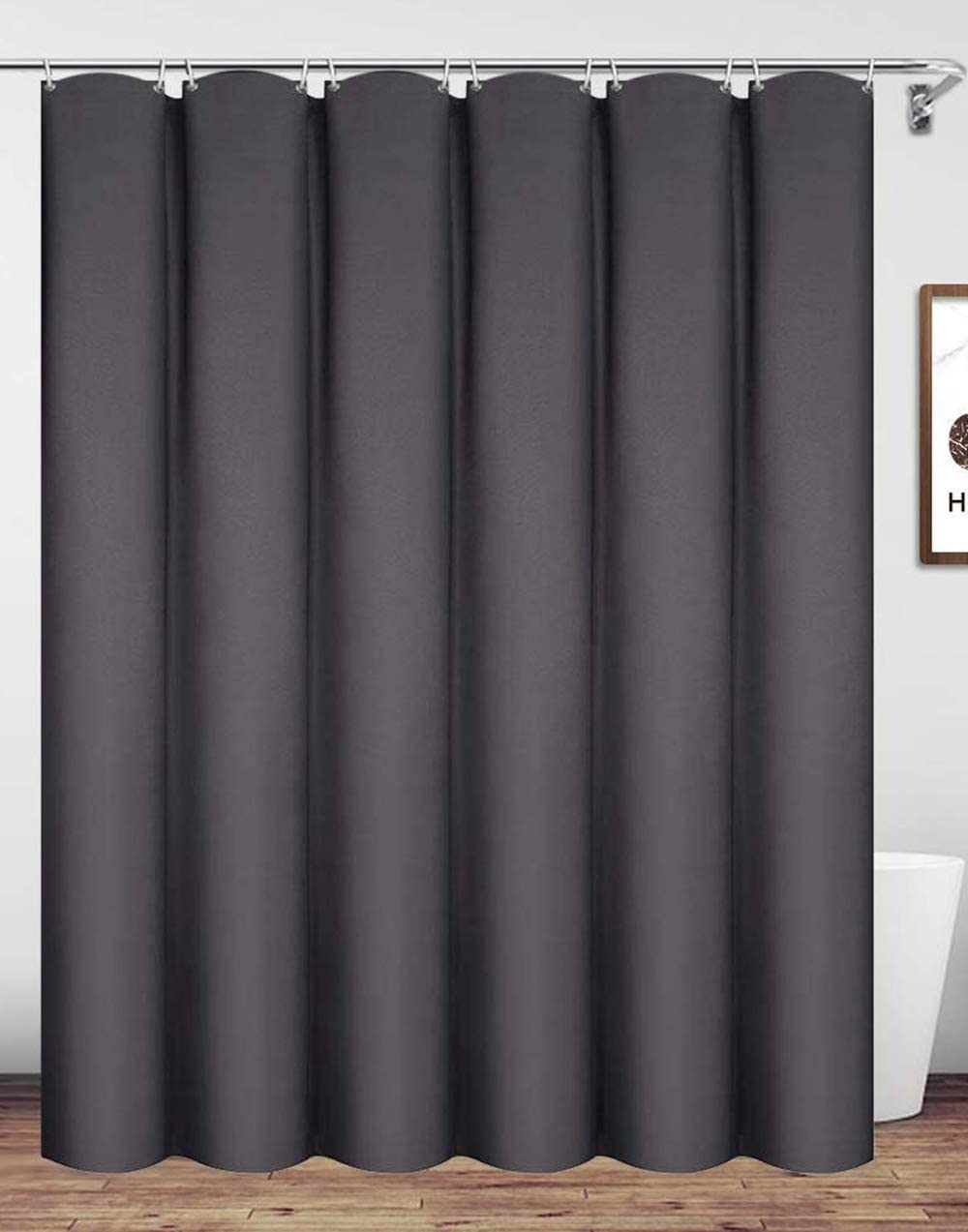 Homehold Charcoal Grey Shower Curtain With Hooks, 180cm Wide By 180cm Long Polyester Waterproof Bathroom Curtain Charcoal Grey 180cm Wide x 180cm High