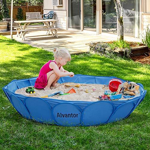 "Alvantor Sandbox Sandpit Outdoor Backyard Kids Pool Foldable Dog Bathing Tub Play Accessories for Sand Toys 63""x12"" Patent Pending"