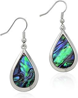 PammyJ Silvertone Abalone Tear Drop Dangle Womens Earrings