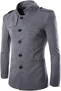 MISSMAO Mens British Jackets Slim Fit Single Breasted Half Trench Coat