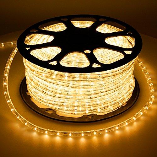 ECD Germany LED Lichtschlauch Lichterschlauch 30 Meter - Gelb- 36 LEDs/m - Innen/Aussen - IP44 - Lichterkette Lichtband Licht Leucht Dekoration Schlauch Leiste Streifen Strip