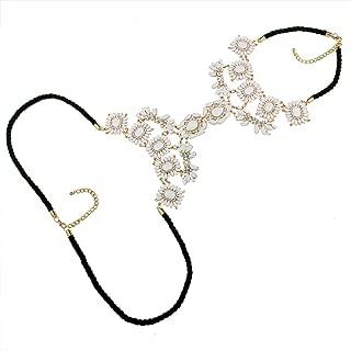 Baoblaze Punk Rhinestone Flower Statement Necklace Body Jewelry Chain Blue
