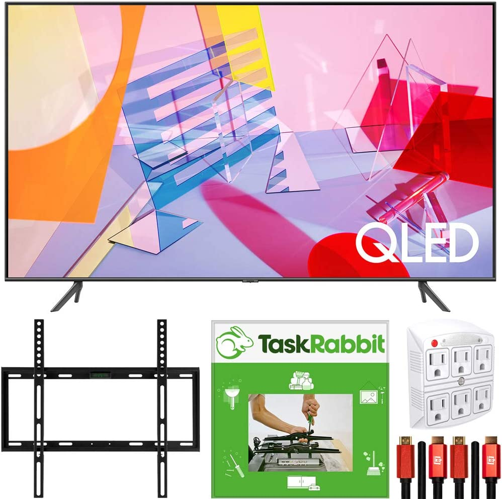 SAMSUNG QN55Q60TA 55-inch Class Q60T QLED 4K UHD HDR Smart TV (2020) Direct Full Array 4X Bundle with TaskRabbit Installation Services + Deco Gear Wall Mount + HDMI Cables + Surge Adapter