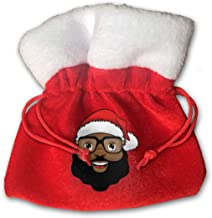 African American Santa Claus Black Merry Christmas Xmas Gift Candy Bags Jewelry Toys Treat Small Tiny Little 6 Inch Miniature Drawstring Reusable Bundle Reusable Carrying