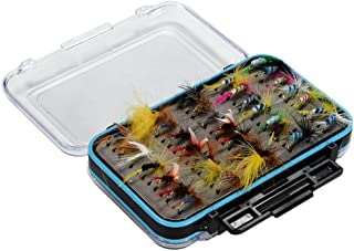 Isafish Fly Fishing Flies Kit 64/72/100pcs Dry Flies Wet Flies Assortment Kit Handmade Fly Fishing Lures with Waterproof Fly Box