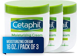 Cetaphil Moisturizing Cream for Very Dry/Sensitive Skin, Fragrance Free, 16 Ounce, Pack of 3