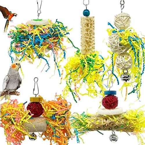 Juguete Triturador Colgante Juguete para Masticar pájaros Hecho a Mano,Pájaros Juguetes Pequeños Loros Masticar Juguetes para Masticar Pájaros, para Pollo, Loros, Mascotas, Accesorios 5PCS
