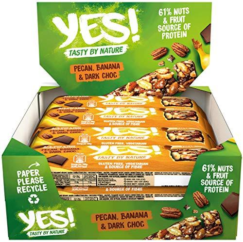 YES! Dunkle Schokolade, Banane & Pecannüsse, 12er Pack (12 x 35g)