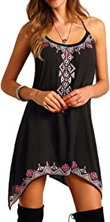 Placextre Summer Dress,Sleeveless Halter Dress,Irregular Dress,Women Irregular Geometric Printed Sleeveless Halter Mini Dr...