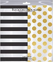 Flexicore Packaging Black Striped & Gold Polka Dot Gift Wrap Tissue Paper Size: 20 Inch X 30 Inch | Count: 48 Sheets | Col...