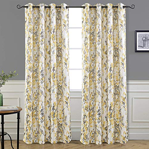 DriftAway Leah Abstract Floral Blossom Ink Painting Room Darkening Thermal Insulated Grommet Unlined Window Curtains 2 Panels Each Size 52 Inch by 84 Inch Golden Yellow Silver Gray