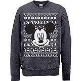 Brands In Limited Mouse Christmas Mickey Head Sudadera, Gris (Dark Heather), Medium para Hombre