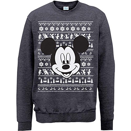 Brands In Limited Mouse Christmas Mickey Head Sweat-Shirt, Gris (Foncé/chiné), XL Homme