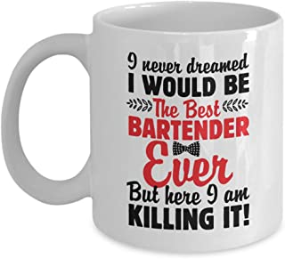 The Best Bartender Ever Funny Bartending Quotes With Bowtie Coffee & Tea Gift Mug, Pen Cup Décor, Containers, Utensils, Supplies, Items, Products And Table Accessories For Dad Bartenders (11oz)