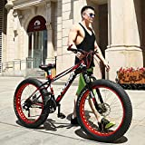 XRQ 21/24/27 Speed Mountain Bikes, 26 Inch Fat Tire Mountain Trail Bike High-Carbon Steel Frame Hombres Mujeres All Terrain Mountain Bike Dual Disc Brake,Rojo,27 Speed