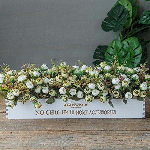 Jnseaol Fleurs Artificielles Arrangement Floral Bonsaï Pot en Bois Décoration pour Maison, Jardin, Cuisine, Mariage Et Magasin pour Amie Saint Valentin, Fête des Mères Rose Verte
