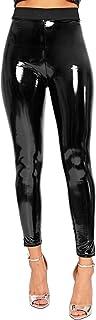 WearAll - Dames nat uiterlijk glanzende PU-jeggings broek dames hoog getailleerde leggings - 34-42