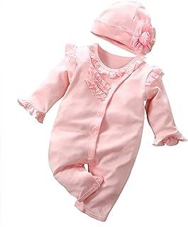 FEESHOW Neugeborenes Baby Mädchen Langarm Strampler Knöpfe Bodysuit Romper mit Blumen Mütze Set Hüte Säugling Kleidung Outfit Baumwolle