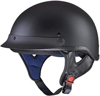 AHR Motorcycle Half Face Helmet DOT Approved Motorbike Cruiser Chopper Matt Black S
