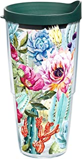 Tervis 1214205 Succulents and Cactus Tumbler with Wrap and Hunter Green Lid 24oz, Clear