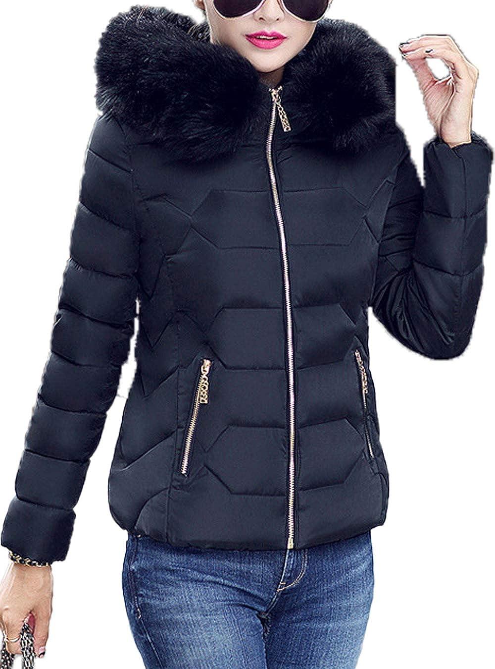 Women Down Jacket Hooded Padded Zipper Outwear Lightweight Jackets Quilted Parkas