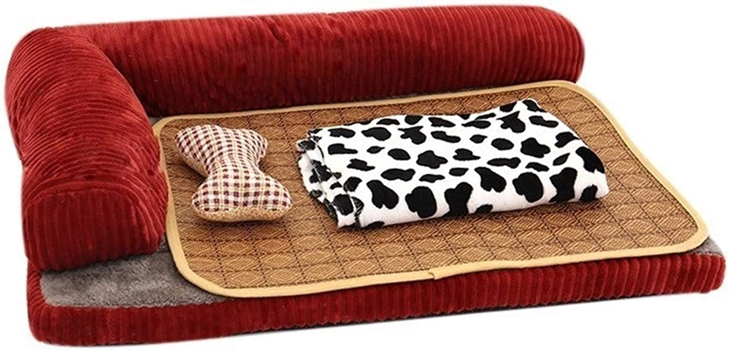 North cool Buy 1 Get 3 Free All Season Dog Bed Mat Soft Corduroy Pet Sofa With Rattan Mat Pillow Blanket Puppy Cat House Summer Cooling Mat (color   Red, Size   55x45x15cm)