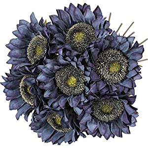 Silk Flower Arrangements Hawesome Vintage Sunflowers Artificial Flowers 7 Pcs Faux Silk Sunflowers Bouquet Fake Real Touch Long Stems Floral for Wedding Party Centerpieces Home Decoration(Autumn Blue)