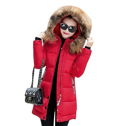 7e2da8351ce0b Rela Bota Women's Winter Warm Down Coat Faux Fur Hooded Parka Puffer Jacket  Long Overcoat
