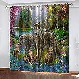 WLHRJ Cortina Opaca en Cocina el Salon dormitorios habitación Infantil 3D Impresión Digital Ojales Cortinas termica - 160x115 cm - Lobo Animal del Bosque