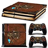 ZOOMHITSKINS PS4 Console and Controller Skins, Old Book Treasure Pirate Knight Medieval Gold Pearl Map, High Quality, Durable, Bubble-free Goo-free, 1 Console Skin 2 Controller Skins, Made in USA