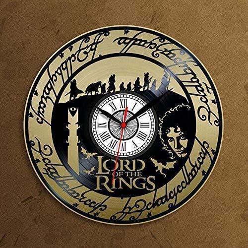 Vinyle horloge murale record, seigneur des anneaux anneaux horloge murale décoration créative, le meilleur cadeau for la décoration murale maison, Argent, Couleur: Or (Color : Gold)