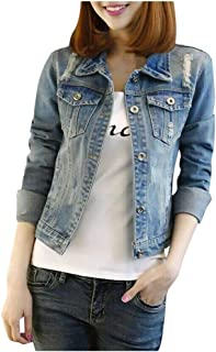 Sumeier Women's Basic Ripped Distressed Button Down Denim Jacket Jean Outercoat