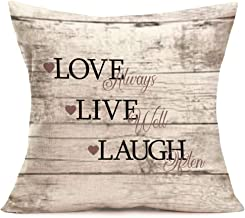 Fukeen Inspirational Quotes Home Sofa Decorative Throw Pillow Cushion Covers Live Laugh Love Wood Letter Pillow Cases Cotton Linen Standard 18x18 Inches