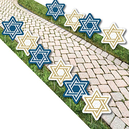 Big Dot of Happiness Happy Hanukkah - Star of David Lawn Decorations - Outdoor Chanukah Yard Decorations - 10 Piece