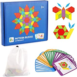 JCREN 155 Pcs Wooden Pattern Blocks Set Geometric Shape Puzzles Graphical Classic Educational Montessori Tangram Toys Brain Teasers STEM Gift with 24 Pcs Design Cards for Kids Toddler